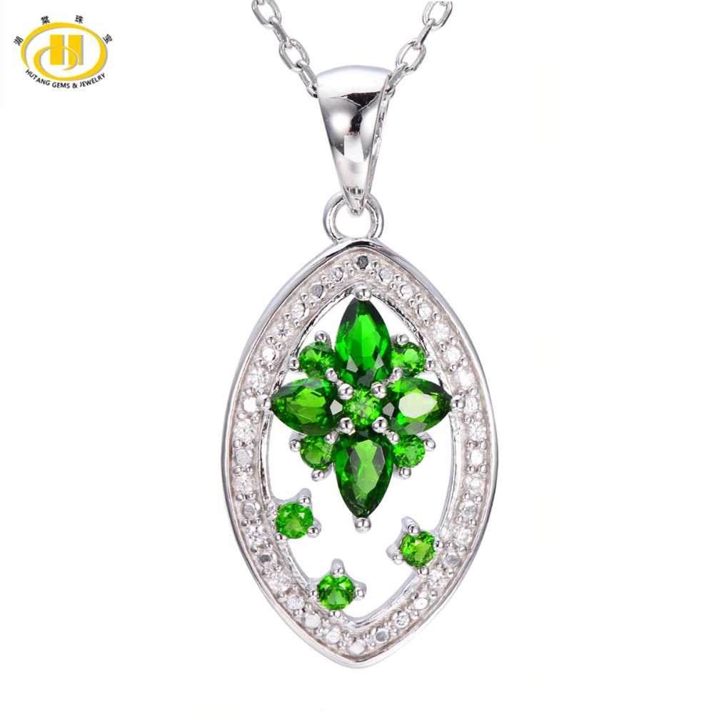 Hutang 1.19ct Natural Chrome Diopside Flower Pendant 925 Sterling Silver Necklace Green Gemstone Fine Jewelry Hutang цена и фото