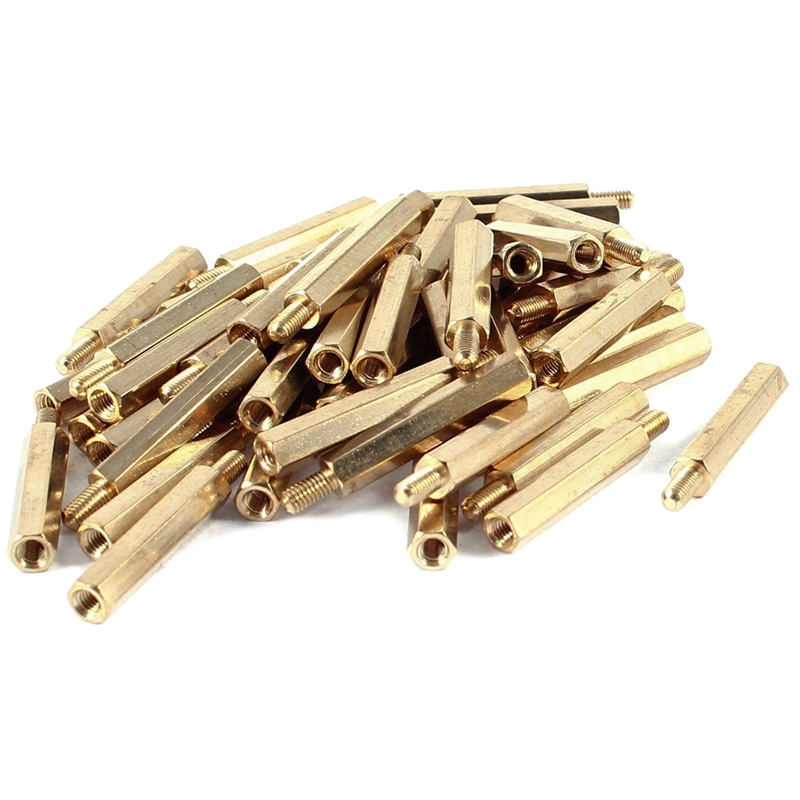 50pcs Brass Hex Standoff Spacer Screw Female to Male 25mm+6mm M3 3mm 50 pcs m3 7mm 6mm male female thread nylon pcb hex stand off screw spacer