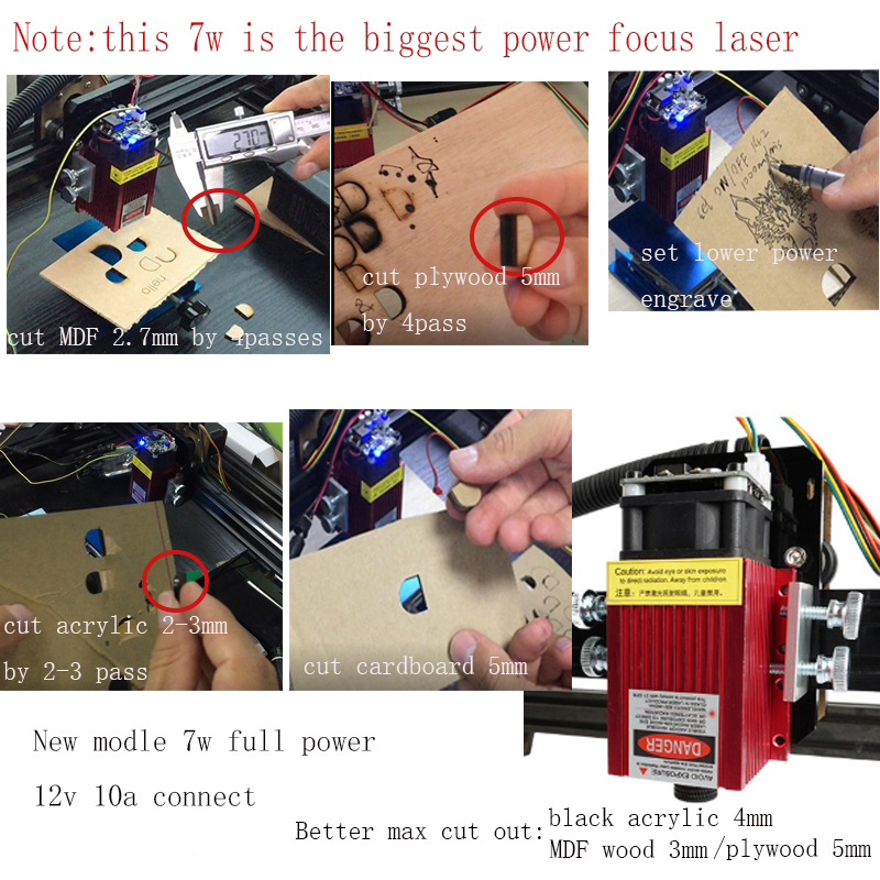 Image 4 - 15w laser cutting machine TTL PMW control 1*1m big area 5500mw laser engraving machine 2.5w laser carving machine 7w cnc router-in Wood Routers from Tools