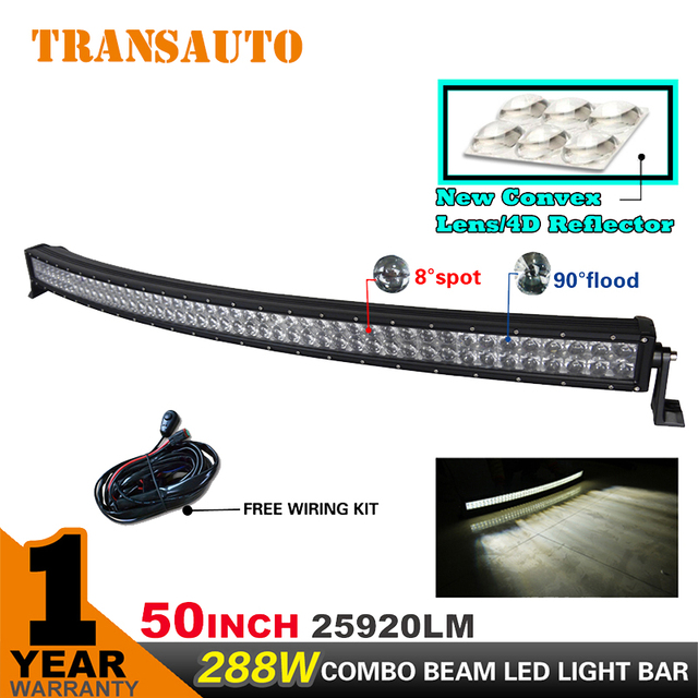 Transauto 50 inch 288w curved led light bar combo beam for off road transauto 50 inch 288w curved led light bar combo beam for off road 4x4 for 150 aloadofball Image collections