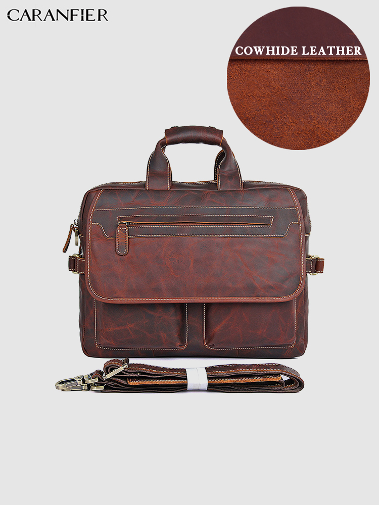 CARANFIER Mens Briefcases Crazy Horse Genuine Cowhide Leather Business 15 Inches Computer Bags Top Quality Vintage Handbags