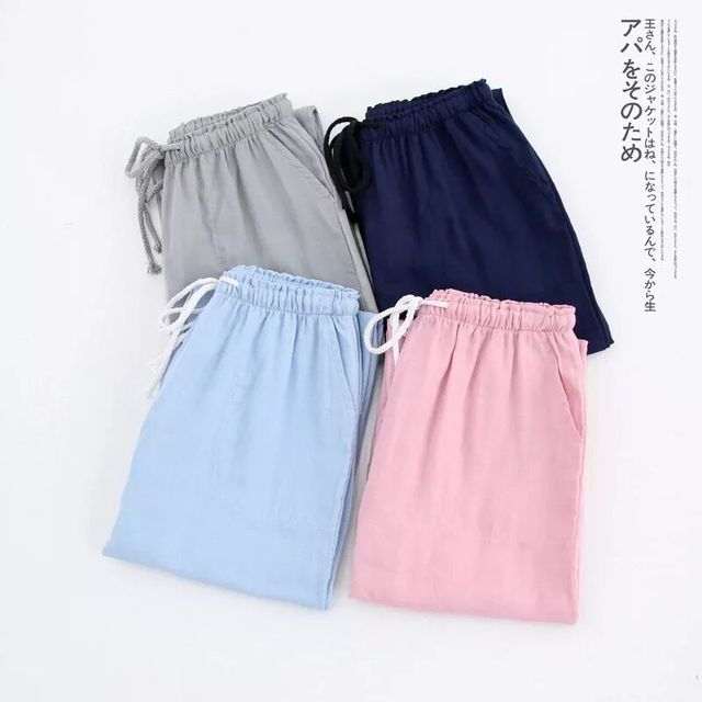 Wiosna pary bawełna gaza spodnie panie domu krawat piżamy spodnie męskie spodnie spodnie do spania kobieta piżamy spodnie i spódnice