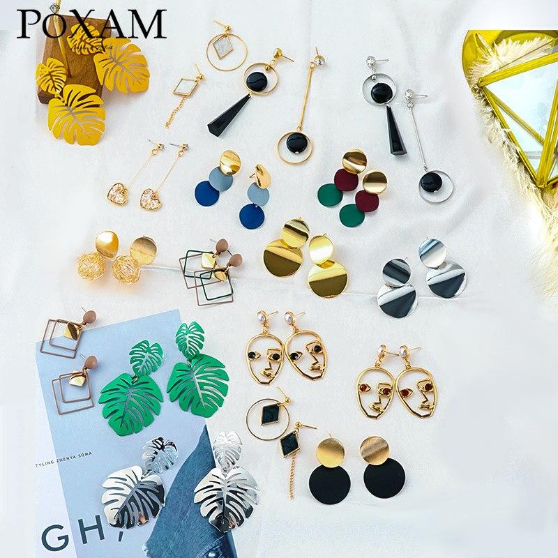 New Fashion Women Dangle Drop Korean Earrings For Women Geometric Round Heart Gold Earring Brincos Jewelry 2019 Double Eleven
