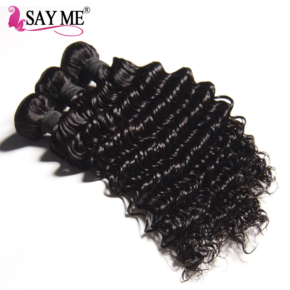 Brazilian Deep Wave Bundles With Closure Remy Weaves Human Hair With Closures 3 Bundles With Lace Closure SAY ME Hair Product