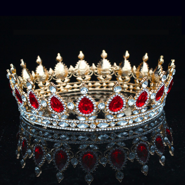 Sparkling Crystal Vintage Baroque Queen King Crown For Women Prom