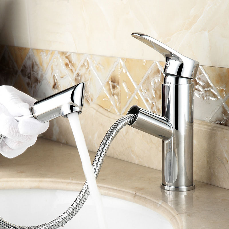 Bathroom Faucet 1.5 Hose Brass Pull Out Spout Cold Hot Water Mixer Tap Bath Lavatory Vessel Sink Basin Chrome Robinet 2231282 new pull out sprayer kitchen faucet swivel spout vessel sink mixer tap single handle hole hot and cold