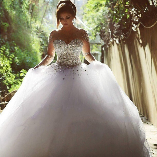 Luxury wedding dresses 2015 new crystal beads Long...