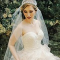One layer simple Tulle Crystal Band Bridal Veils wedding veils with crystal