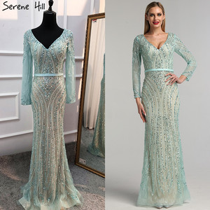 Image 2 - 2020 Long Sleeves Luxury Sparkly Tulle Evening Dresses V Neck Mermaid Beading Sequined Evening Gown Real Photo LA6396
