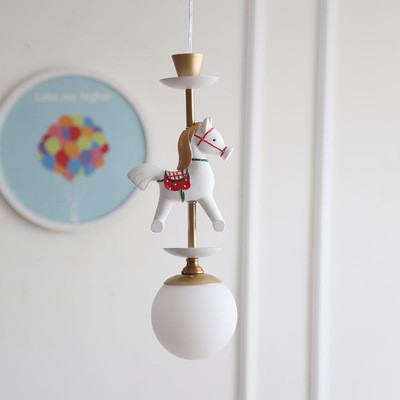 Bande dessinée créative carrousel suspension lampe garçons et filles chambre nordique Simple LED couleur Animal unique tête suspension lampe - 5