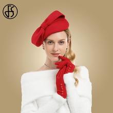 FS de lana de invierno Fascinator sombrero las mujeres elegantes sombreros  boda Negro Azul Rojo dama Bowknot Kentucky Derby fiel. c5f984fe36e