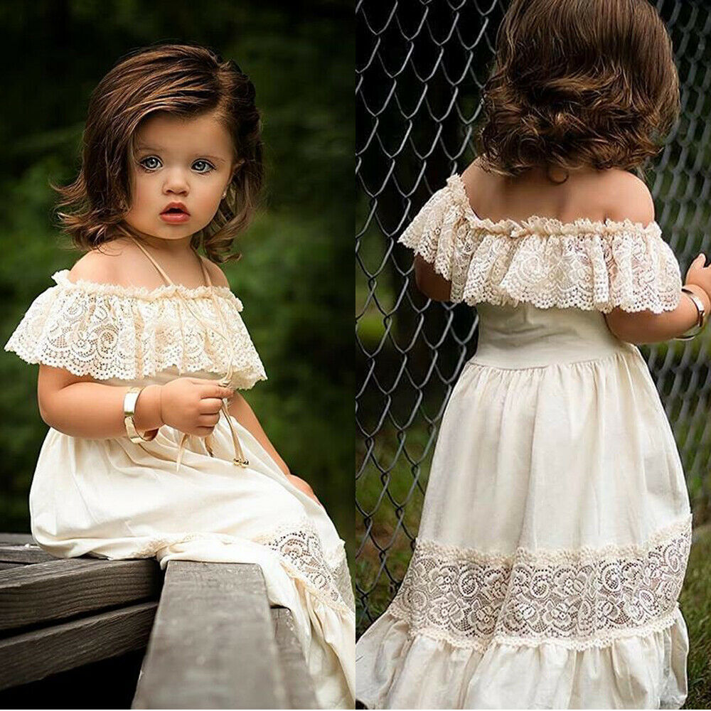 Pudcoco Newest Fashion Toddler Baby Girl Summer Dress Off Shoulder Solid Color Lace Flower Dress Party Formal Dress Sundress