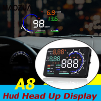 Newest HUD Display A8 Car Head Up Display LED Windscreen Car Speed Projector Warning Consumption Data Diagnostic Tool