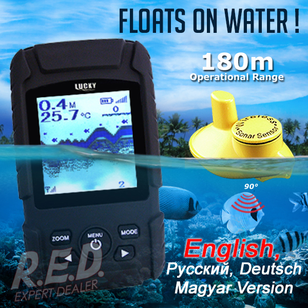 FF-718Li-W LUCKY Rechargeable Wireless Fish Finder Waterproof Fishfinder Monitor Sonar Sensor Fish Depth Alarm эхолот скат два луча lucky ff 718 duo
