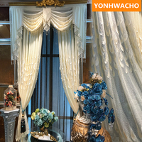 Custom tulle luxury European embroidered Leaf feather embossed gauze white tulle sheer voile curtain valance B244