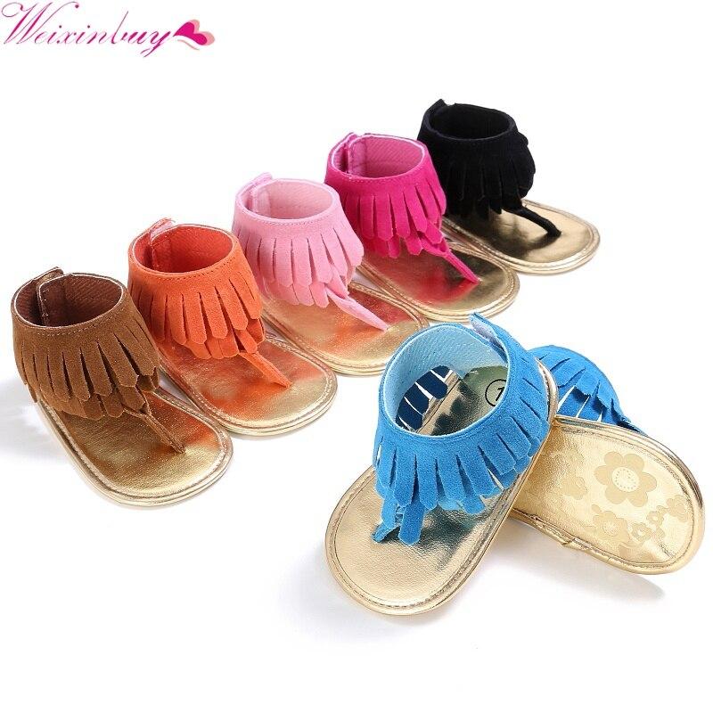 2017 Toddler Newborn Baby Girl Shoes Tassel Summer Shoes Anti-slip Flip Flop Prewalker For Baby Girls 0-18M