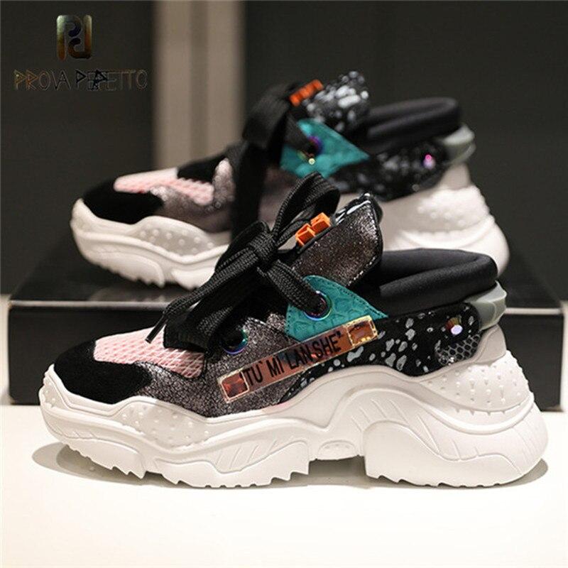 Ayakk.'ten Kadın Topuksuz Ayakkabı'de Prova Perfetto Moda At Kılı Ayakkabı Kadın Platformu Ayakkabı Bağcıkları Madeni Pul Örgü Hakiki deri ayakkabı Kızlar Için rahat ayakkabılar'da  Grup 1