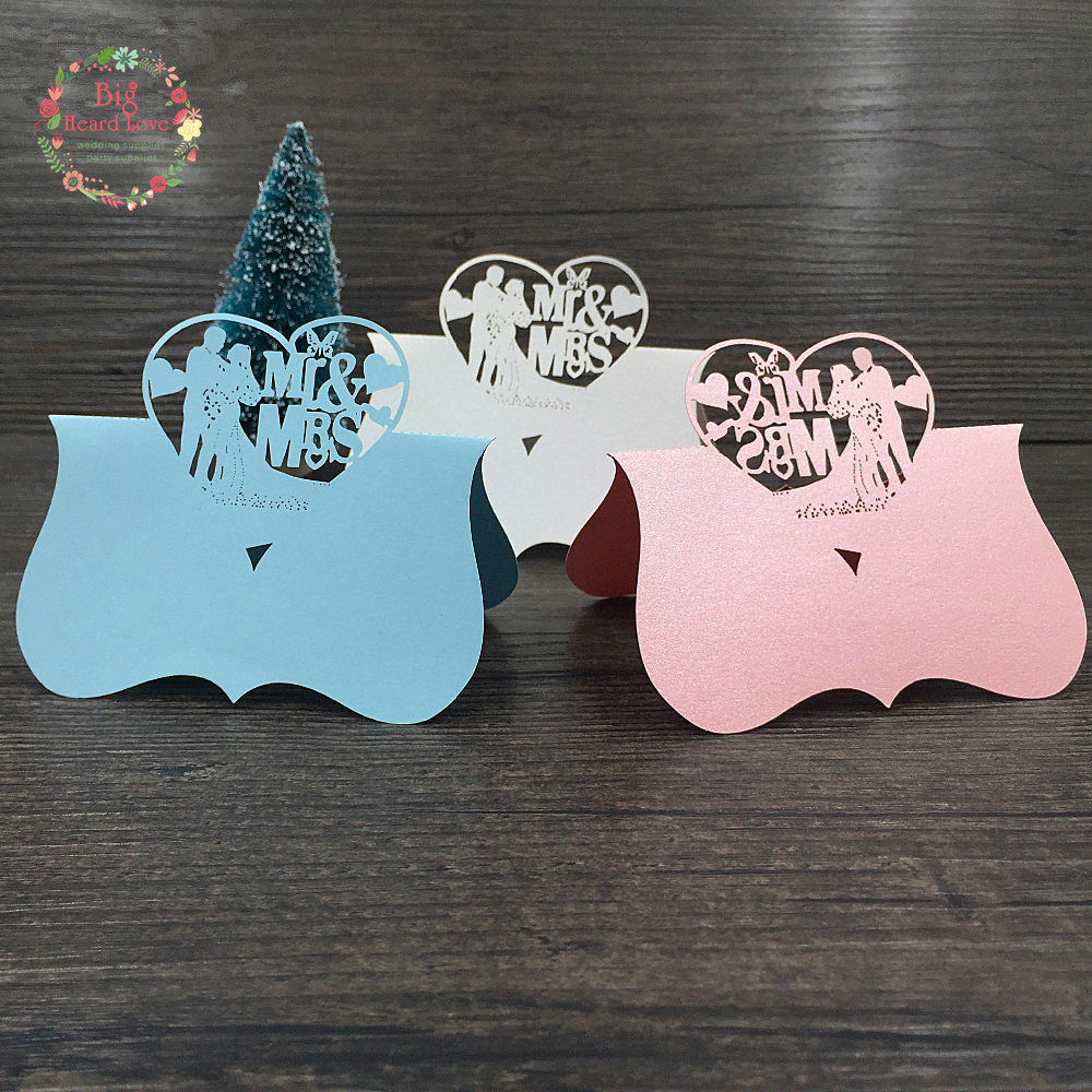 Big Heard Love 40pc Romantic Love Heart Mr &Mrs Laser Cut Table Name Card Place Cards Wedding Favors And Gifts Table Decoration