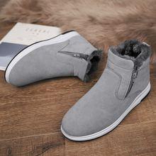 купить MIUBU Men Boots Non-slip Waterproof Winter Ankle Snow Boots Men Platform Men Winter Shoes With Thick Fur Botas Hombre дешево
