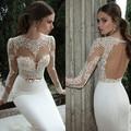 Sheer Vintage Wedding Dresses Lace Appliqued Jewel Neck Long Sleeves Backless Sheath White Berta Bridal Gowns 2017 Spring
