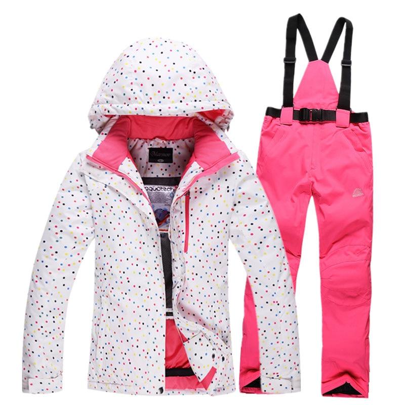 Women Ski Suit Waterproof Snowboard Jacket Women's Winter Skiing Jackets Trousers Outdoor Sport Pants Warm Snow Jacket WS1600