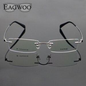 Image 3 - Pure Titanium Eyeglasses Rimless Optical Frame Prescription Spectacle Frameless Glasses For Men Eye glasses 11090 Slim Temple