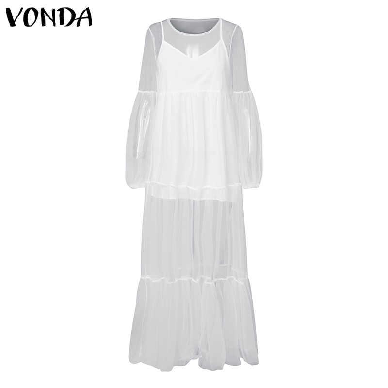 Повседневные свободные платья женские большие размеры VONDA Fat MM большой ярд сарафан сексуальный v-образный вырез фонарь длинный рукав высокая Талия Макси платье 2019