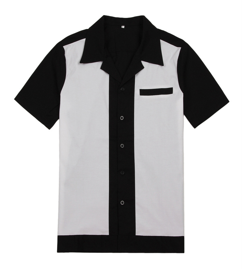 Mens Rockabilly Retro Club Shirts 50s 60s Style Cotton Top Casual Shirts ...