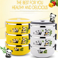 Hot Sale 2 3 Layers Stainless Steel Thermos Lunch Box Japanese Portable Food Container Kawaii Panda