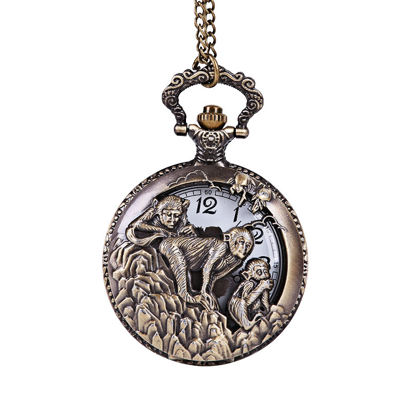 Large Retro Craved The Three Monkey Pick Peaches Bronze White Surface Pocket Watch