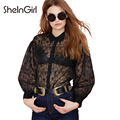 SheInGirl New Solid Black Women Shirts Sexy Lace Sheeer Flower Embroidery Blouse Female Loose Casual Tops Free shipping 2016