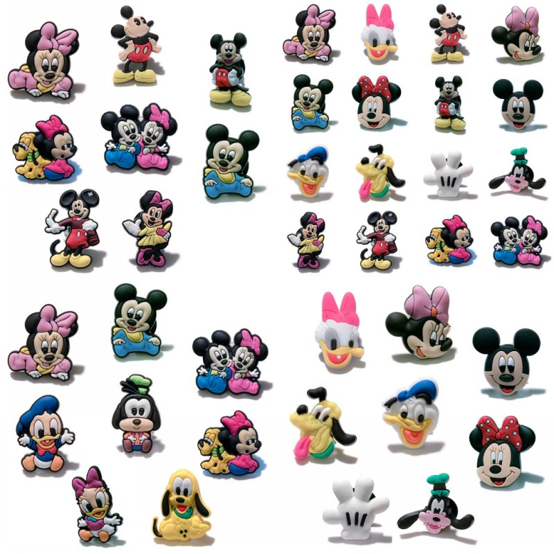 100PC Mickey Minnie PVC Shoe Charms Shoe Buckle Accessories For Croc Decor Fit Bands Bracelets Croc JIBZ Kids Party Gifts