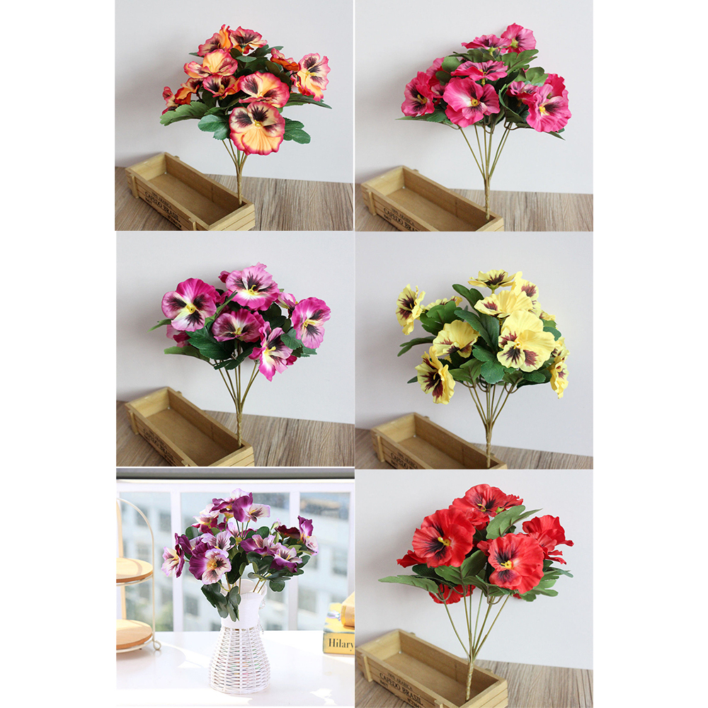 2019 Bouquet Artificial Simulation Silk Flower Pansy Fake