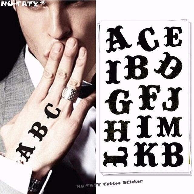 Nu Taty Tymczasowe Body Art Angielski Litery Alfabetu Flash Tatuaż
