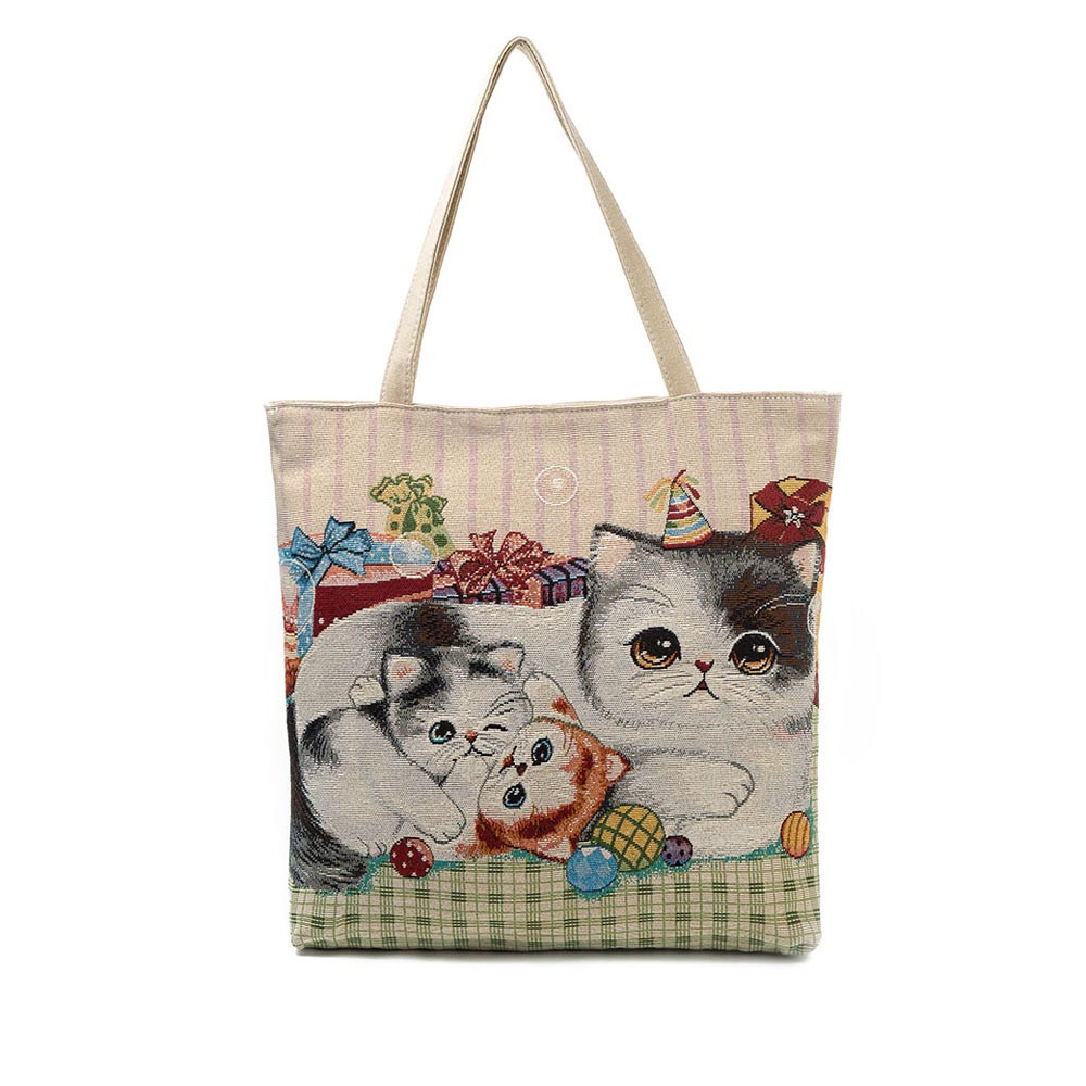 Canvas Cat Printed Canvas Tote Casual Beach Bags Shopping Bag Handbags Large Capacity Ladies Bolsas 0912