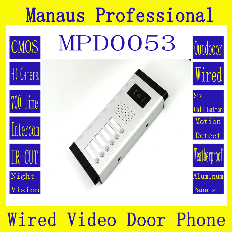 Outdoor Monitor Smart Multi-storey residential buildings with straight-touch intercom 6 buttons Wired Video Doorphone D53a