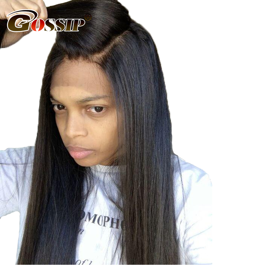 Gossip Hair 180% Density 360 Lace Frontal Wig Pre Plucked With Baby Hair Straight 360 Lace Front Human Hair Wigs For Black Women