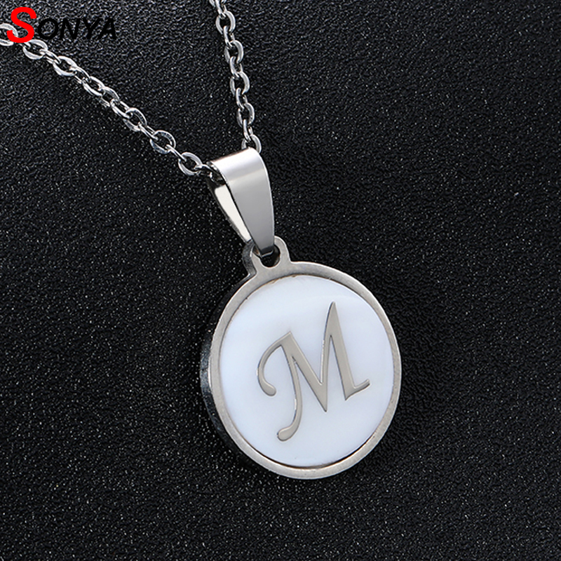 US $1 48 45% OFF|SONYA Stainless Steel Small M Letters Necklaces For  Women/Men Shell Initial Letter Necklace Silver English Letter Jewelry  Gift-in