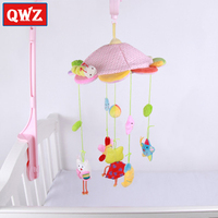 New baby frog animal bed bell clockwork music rotating plush fabric bed hanging infant toy comforting baby sleeping bed bell