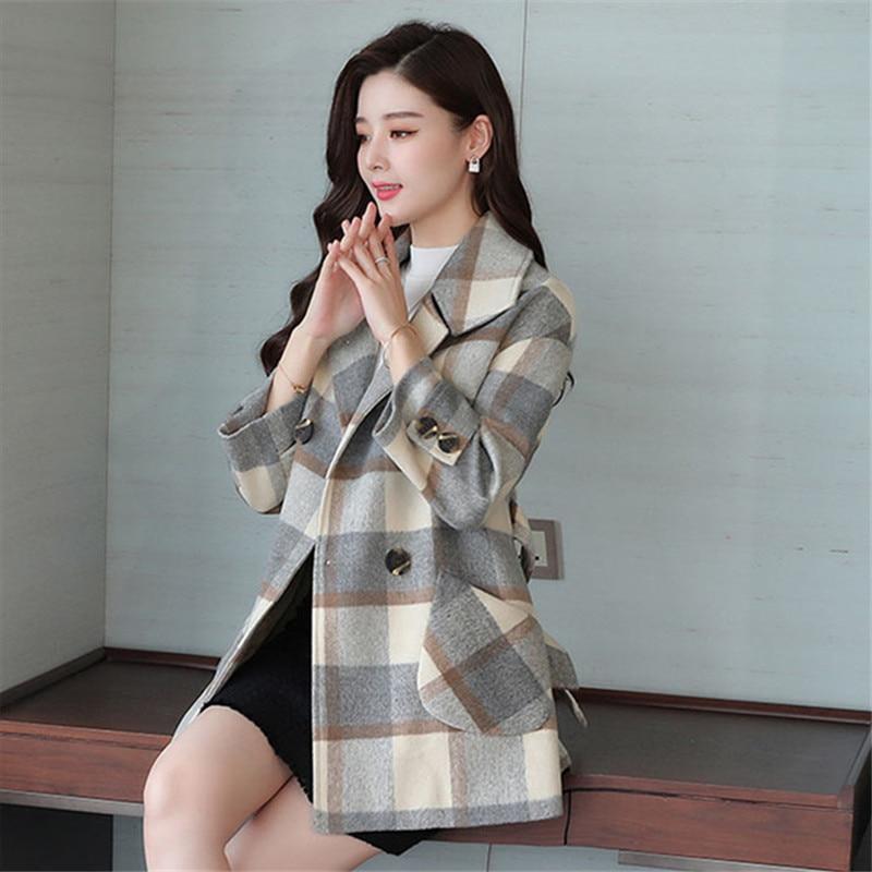 Lana Casual Abrigos Long Estilo Moda Coat Invierno verde Abrigo Vintage  Delgado 2018 Coreano Plaid Mujeres ... 1fc857f6047