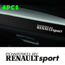 4PCS for Powered By RENAULT SPORT Dashboard Car Decal Logo Graphics Clio Megane Twingo Renault Car Sticker