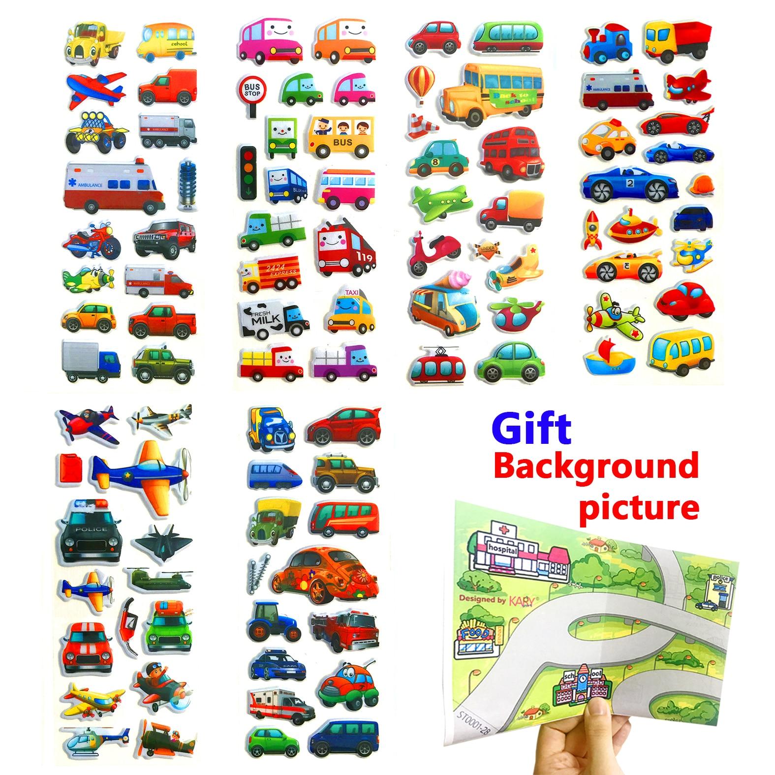 Cute Transport School Tourist Bus Taxi Truck Car Scrapbooking Bubble Stickers 6 Sheets Emoji Kids Boys Toys Factory Direct Sales