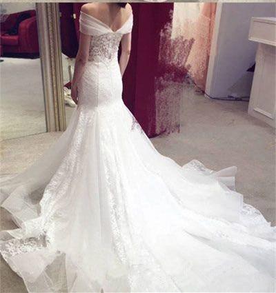 Graceful Mermaid Wedding Dresses Off the Shoulder Appliques Bridal Gown vestido de noiva robe de mariee lace wedding dress