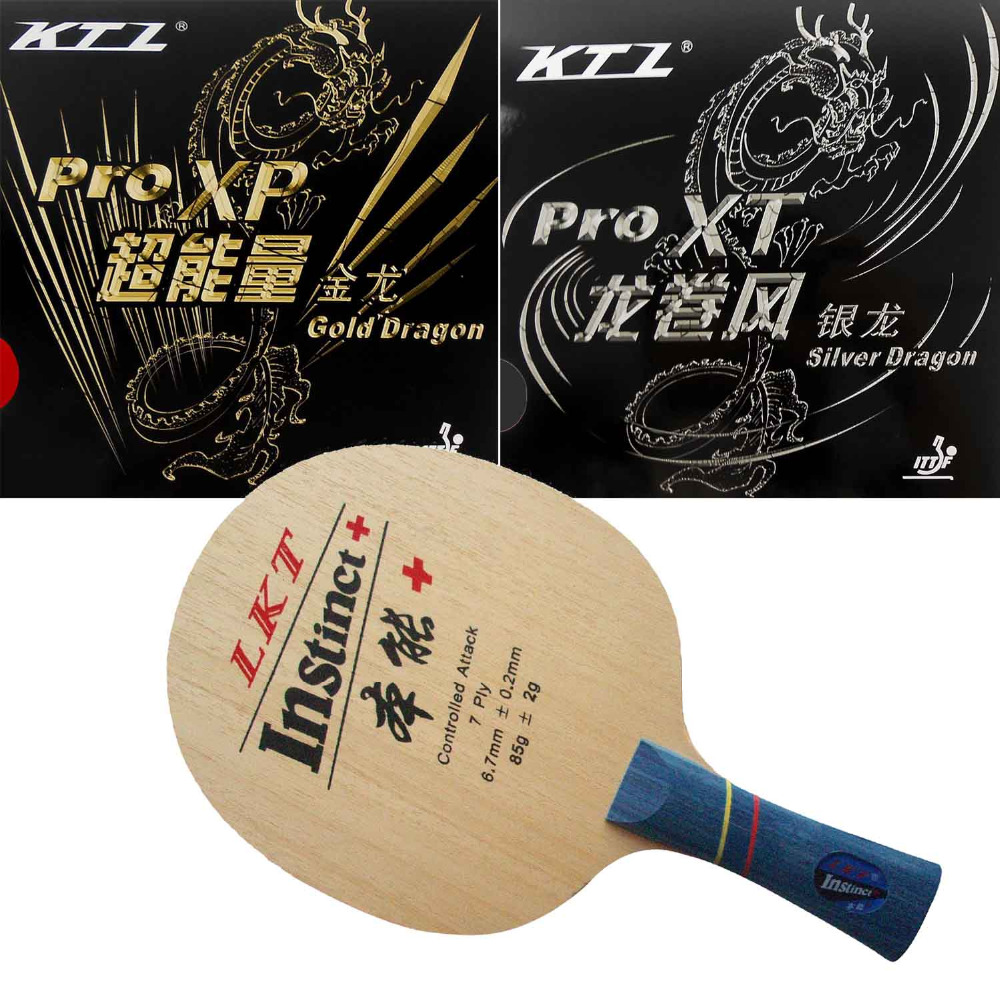 KTL Instinct + (1009) Shakehand  With KTL Gold Dragon / Silver Dragon Rubbers With Sponge Shakehand Long Handle FL