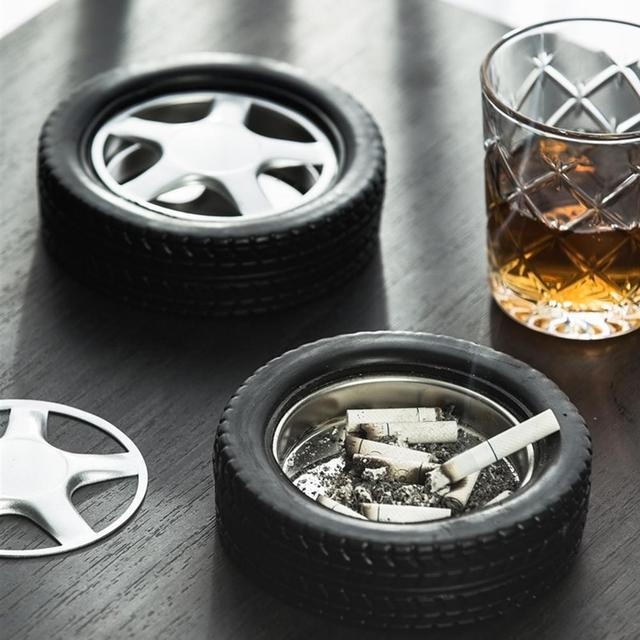 Stainless Steel Car Tire Tyre Cigarette Cigar Ashtray Home Office Hotel Decoration