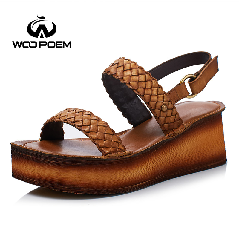 WooPoem Summer Shoes Woman Genuine Leather Sandals Women Fashion High Heel Wedges Platform Sandale Increase Femme Shoes T555-81 xiaying smile summer woman sandals platform wedges heel women pumps buckle strap fashion mixed colors flock lady women shoes