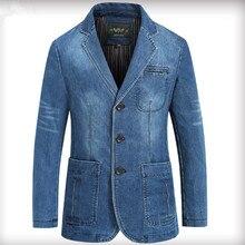 NIANJEEP 2017 Autumn Winter Blazer Men Cotton Denim Smart Casual Men Jacket Slim Fit Suits Brand Clothing Plus Size M-XXXL A3292