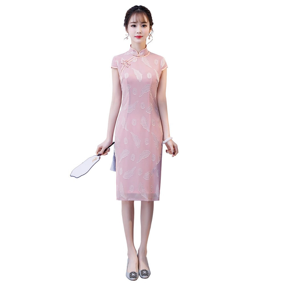 Shanghai histoire genou longueur chinois traditionnel robe Floral Cheongsam filles Qipao chinois femmes robe 3 couleurs
