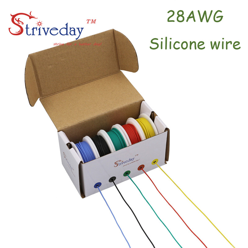 50m 28awg flexible silicone wire cable 5 color mix box 1. Black Bedroom Furniture Sets. Home Design Ideas