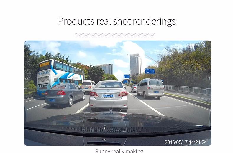 E-ACE Car Dvr Camera Led Lights Blue Rearview Mirror FHD 1080P Night Vision Video Recorder Dual Lens Auto Registrator Dash Cam 25